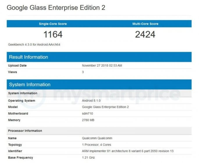 Тест Google Glass Enterprise Edition 2 выявил Android Oreo и процессор Qualcomm