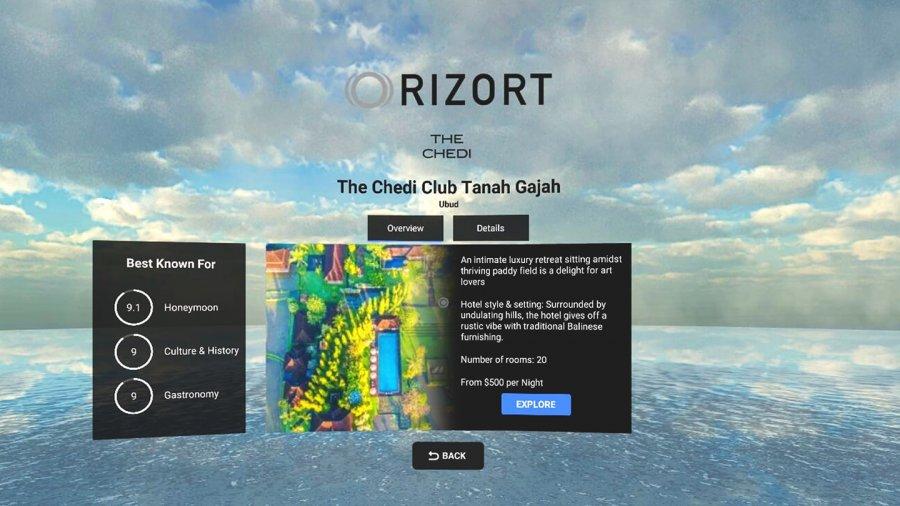 Rizort позволяет изучить место будущего отдыха в VR, прежде чем оставлять бронь