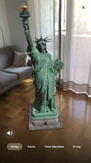 AR приложение показывает Статую Свободы в потрясающей детализации