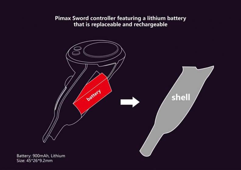 Pimax представляет VR контроллеры Sword и Sword Sense со сменными батареями