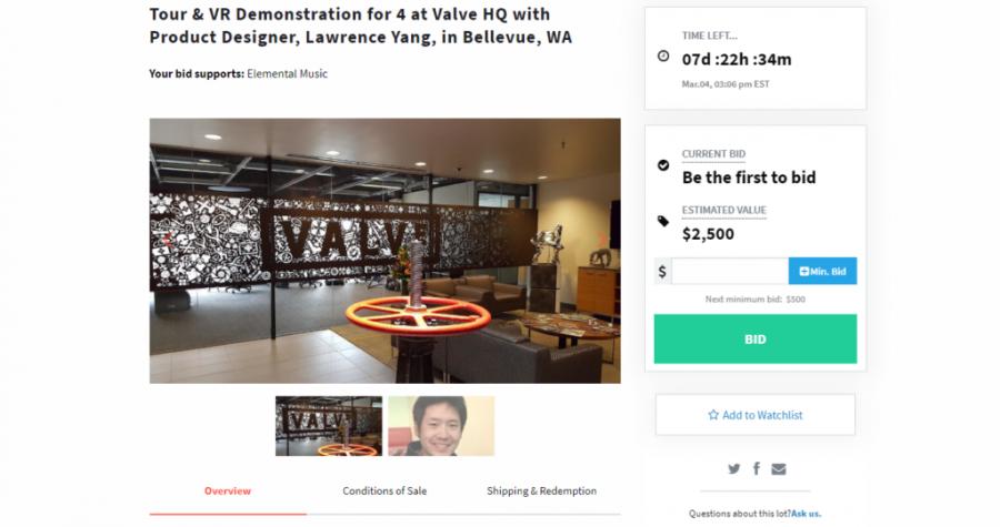 Экскурсия по штаб-квартире Valve и тест Half-Life: Alyx разыгрывается на аукционе